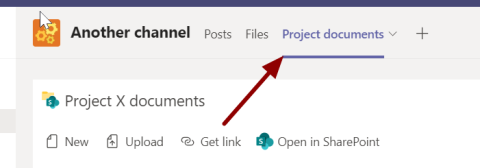 Screenshot showing the location of the new document library in a Teams channel