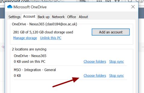 Screenshot of the Choose folders option in OneDrive settings