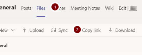 Screenshot showing the location of the sync link in the files section in Teams