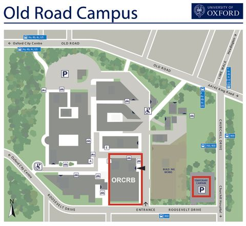 A map of the Old Road Campus showing the location of the Old Road Campus Research Building (ORCRB; OX3 7DQ)