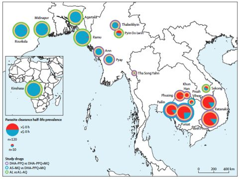 Location of the TRAC II study sites and pie charts show the proportions of participants with a parasite clearance with a parasite clearance half-life of more than 5 hours and less than 5 hours and which drugs were trialled at each site. AL = artemether-lumefantrine. AQ = amodiaquine. AS-MQ = artesunate-mefloquine. DH-PHQ = dihydroartemisinin-piperaquine. MQ = mefloquine. Reprinted courtesy of and © The Lancet 2020