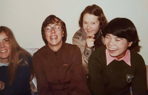 Jean Banister is pictured with her three female DPhil students Hilary Brown, Junko Kimura, Susan Noble