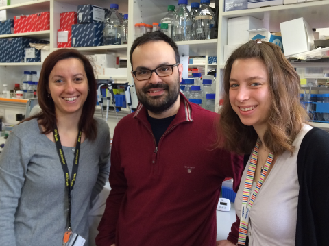Zahra Aboukhalil (right) with members of the Vyas lab.