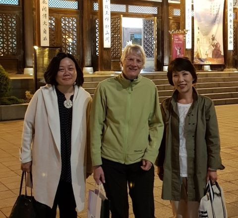 Ruth (centre) with physician-scientists Inah Kim and Jinsil Seong