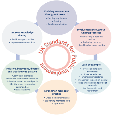 A diagram of 6 circles positioned in a circle. Each of them represents one of the aims and mentions the aim and objectives. In the middle there is a smaller circle with UK Standards for Public Involvement written around it.