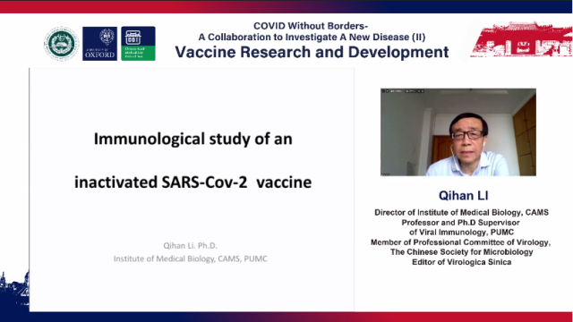 Screenshot of the online seminar COVID Without Borders - A collaboration to Investigate a New Disease II – Vaccine Research and Development