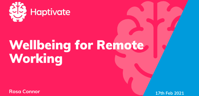 Cover image for the PDF slides for the workshop on Wellbeing for Remote Working, by Rosa Connor from Haptivate, 17th February 2021