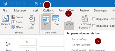 Screenshot showing the location of the encrypt option in Outlook 365 app