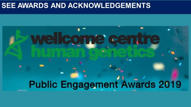 Image of the Wellcome Centre Public Engagement Award.