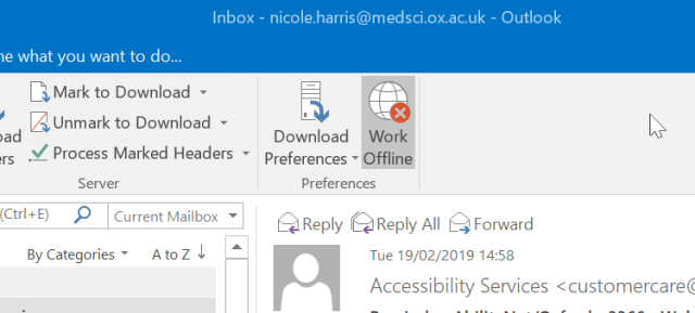 Outlook offline icon