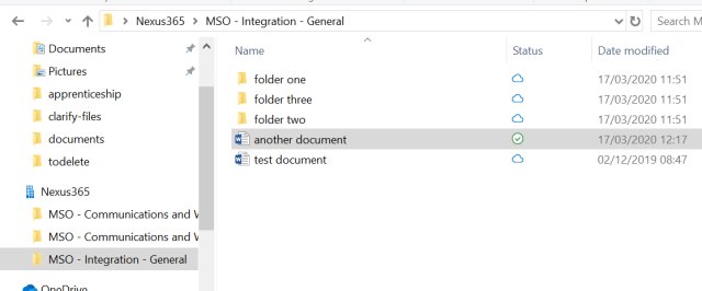 Screenshot of the windows files explorer showing the synced documents