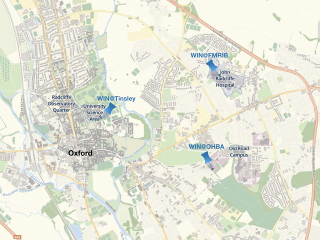 Map of the three centres that make WIN
