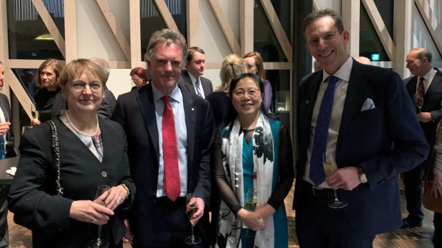 A photo from the Nobel Prize reception 2019. From L-R: Professor Maria Masucci, Nobel Assembly member; Sir Peter Ratcliffe; Professor Xin Lu, Ludwig Oxford Branch Director; Professor Thomas Perlmann, Secretary-General of the Nobel Assembly and the Nobel Committee.