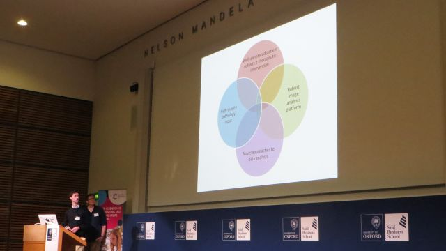 A photo of Philip Macklin presenting at the CRUK Oxford Centre symposium. His slide shows a Venn diagram with 4 centrally overlapping circles containing the text (clockwise from top):
