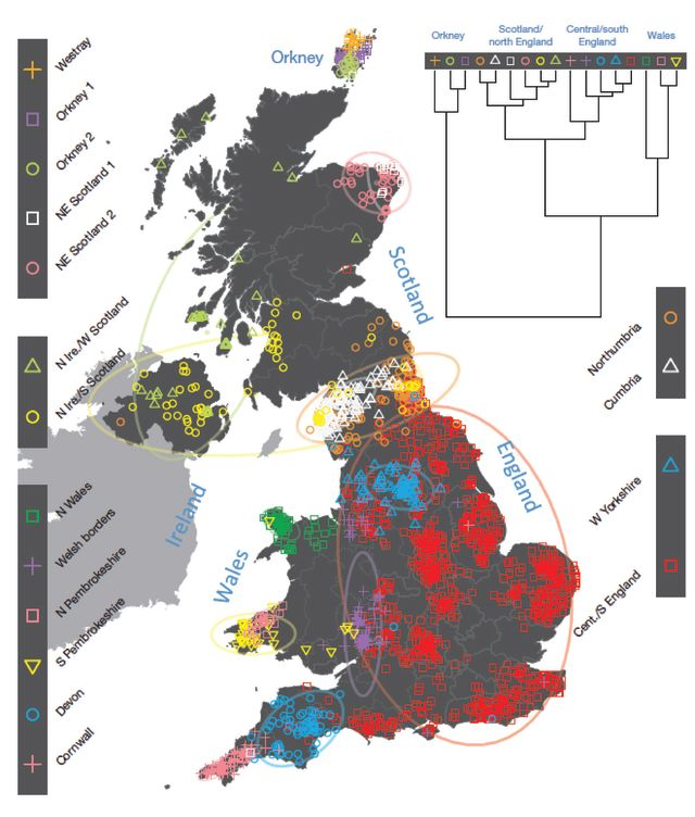 For each individual, the coloured symbol representing the genetic cluster to which an individual is assigned is plotted at the mean position of their grandparents' birthplaces. Cluster names are in the side bar. Contains OS data © Crown copyright and database right 2012. © EuroGeographics for some administrative boundaries.