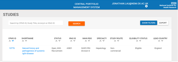 Central Portfolio Management System screenshot