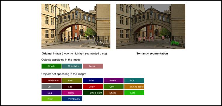 Semantic Image Segmentation: http://www.robots.ox.ac.uk/~szheng/crfasrnndemo