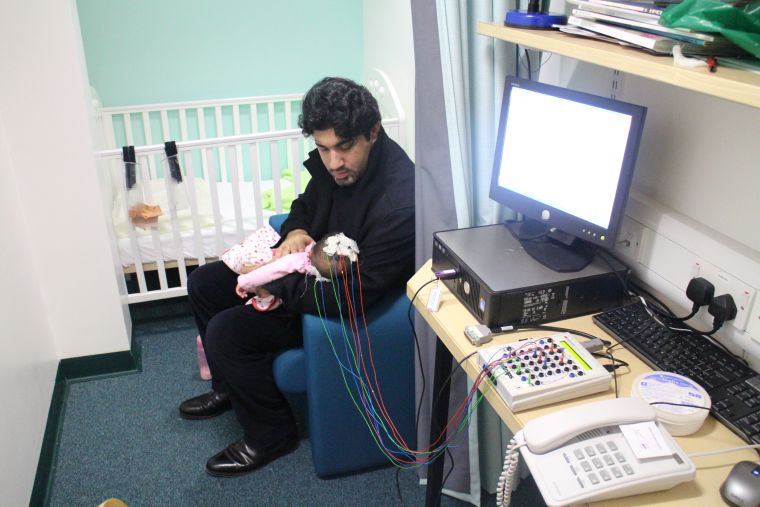 In the Sleep Room, during an experiment at the BabyLab