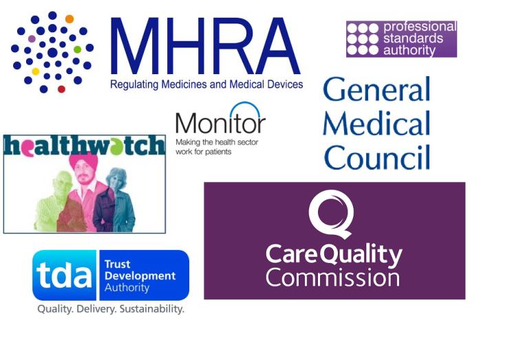 Logos of some NHS regulatory bodies