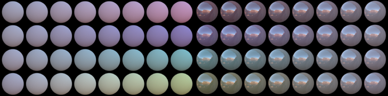 Examples of experimental stimuli rendered under environmental illumination by computer-graphics software. From both edges to the center, the saturation of surface increases. Each row shows different hue directions.