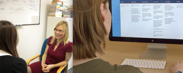 The image is comprised of two separate photos. The photo of the left depicts a Cognitive Behavioural Therapy (CBT) face-to-face session and the photo on the right depicts a patients using the Social Anxiety Internet Therapy website using CBT.