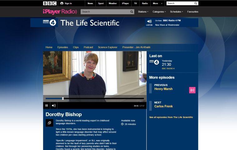 Professor Dorothy Bishop was a guest on Radio 4's Life Scientific!