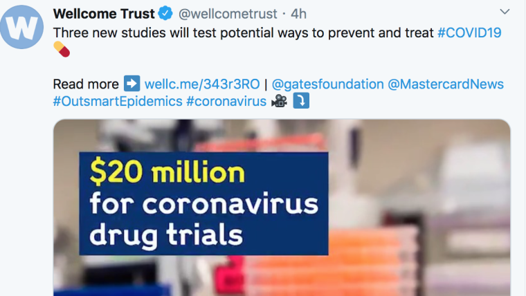 Screenshot of Wellcome Trust tweet showing: 'Three new studies will test potential ways to prevent and treat COVID-19'