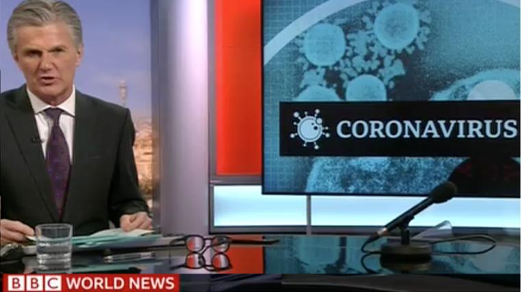 Screenshot of news presentation on COVID-19