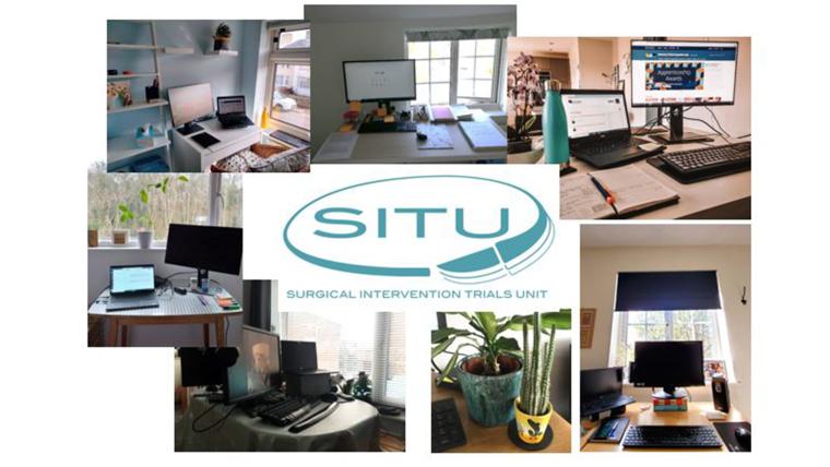 Montage of empty home office desks