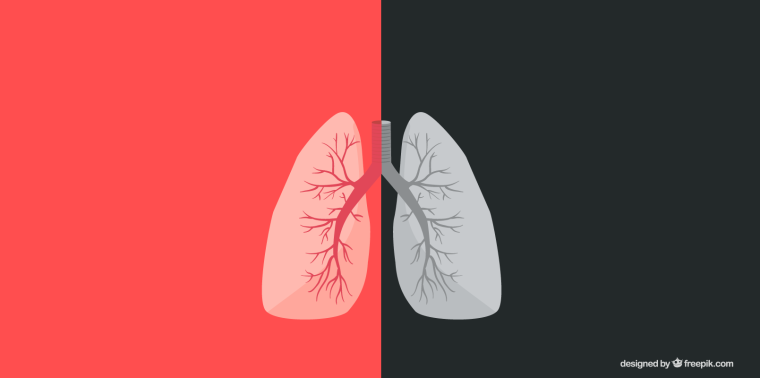 Graphic of a pair of lungs against a red/black background