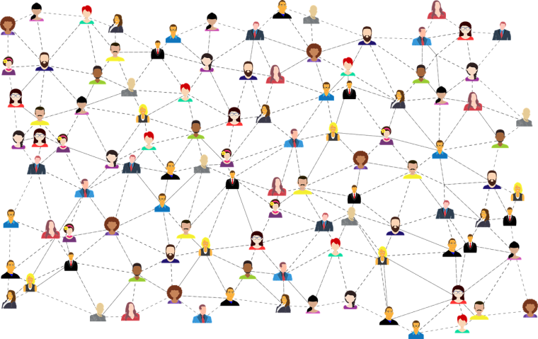 Visualisation of a social network.