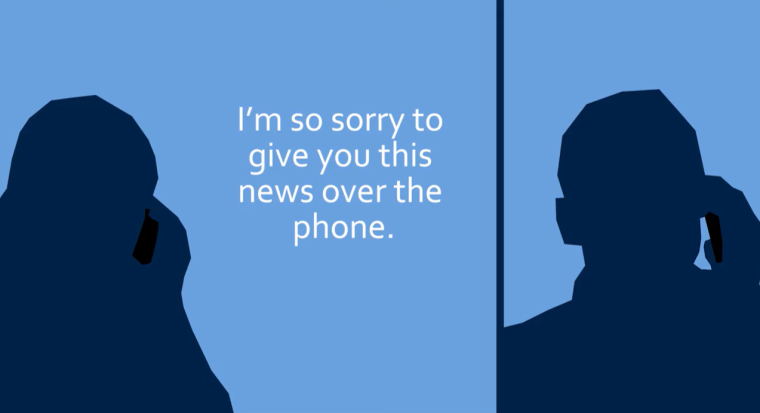 "Image showing two silhouetted figures having a phone conversation. The text overlay reads ""I'm so sorry to give you this news over the phone"""