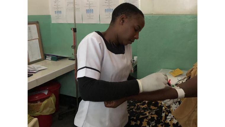 Nurse taking blood examples