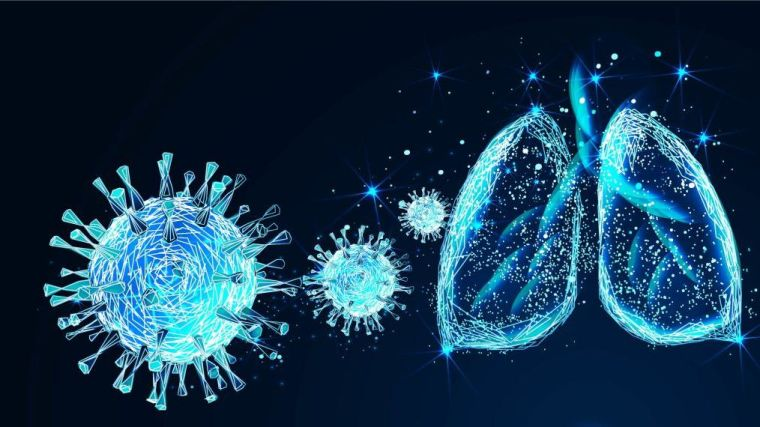 Artists impression of novel coronavirus and lung diagram.