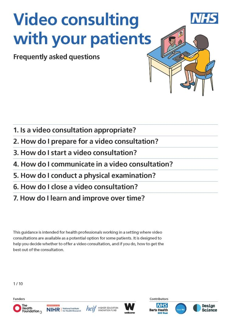 Video consulting with your patients - FAQs for clinicians