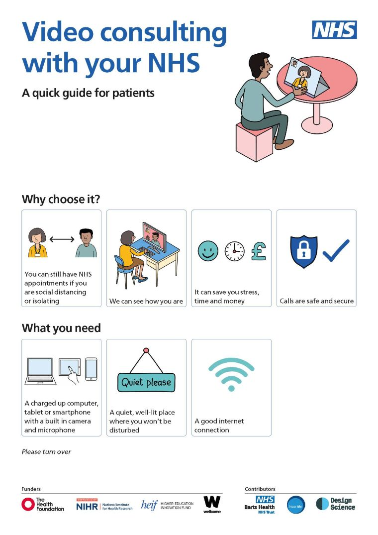 Video consulting with your NHS - Quick guide for patients