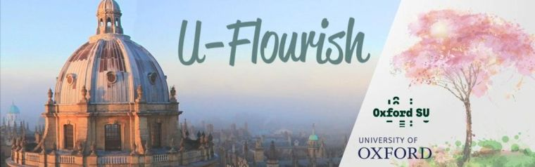 """Image shows cityscape backdrop of Oxford and in the forefront the """"U-Flourish"""" logo."""