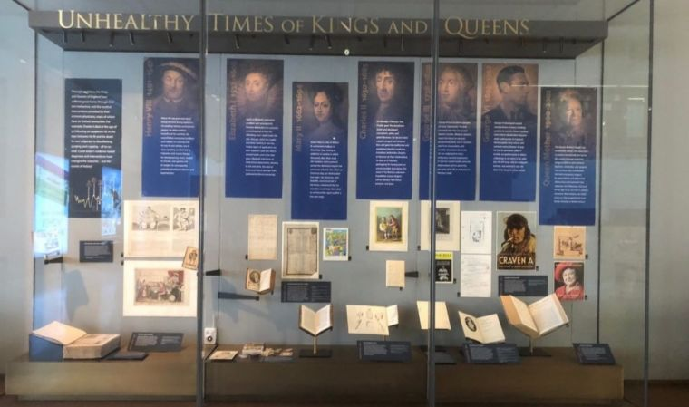 Photograph of Unhealthy Times of Kings & Queens exhibition case in a museum