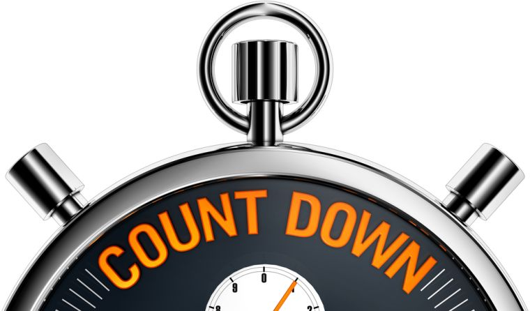 Image of a clock saying count down.