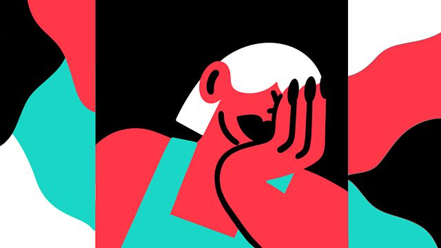 Abstract graphic image of a woman with her head in her hand.
