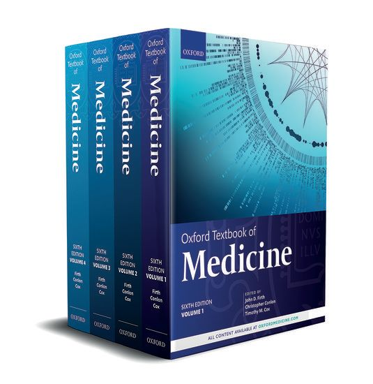 Image of the four different volumes of The Oxford Textbook of Medicine.