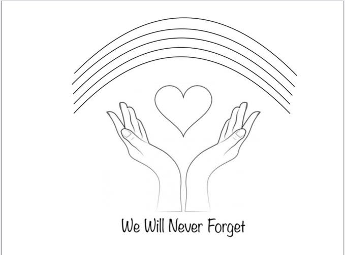 'We Will Never Forget' picture showing hands, a heart and a rainbow.