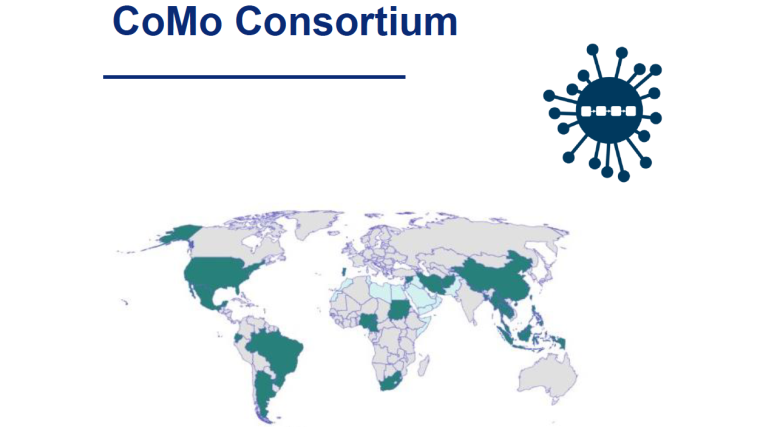 The COVID-19 International Modelling Consortium (CoMo Consortium) - image with a map of the world with CoMo members, its logo and the name CoMo Consortium