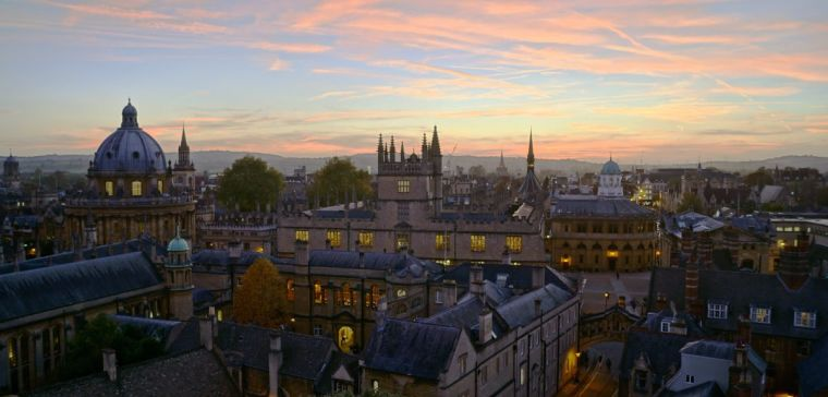 Oxford skyline at sunset