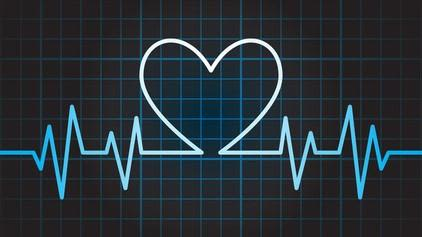 Graphic of a cardiogram including the shape of a heart in the readout.