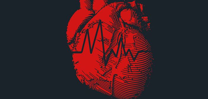 Image of a human heart with read-out from a heart rate monitor superimposed