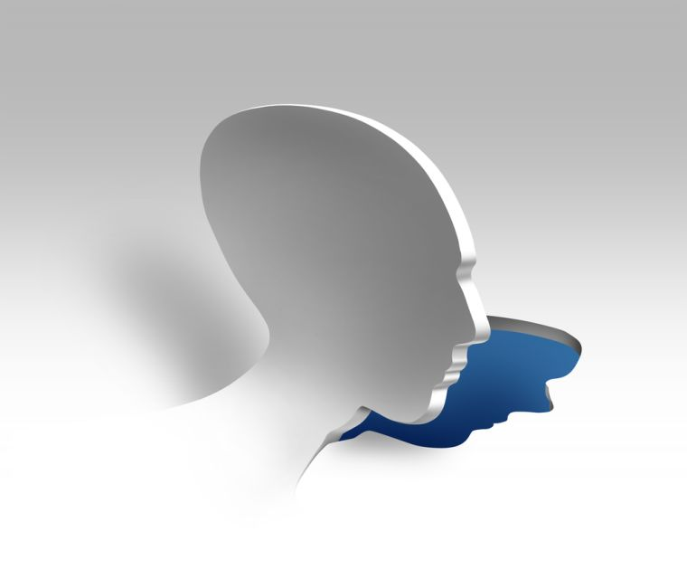 Image of a cut out face, pealing away.