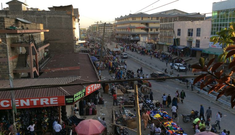 Looking down over a busy street in Eastleigh