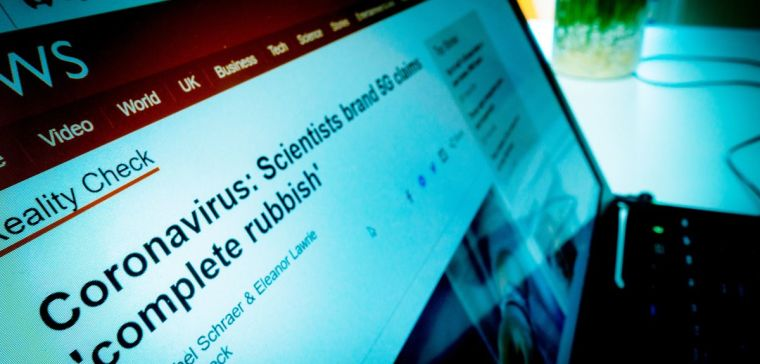 "Image of laptop displaying the BBC NEWS headline: 'coronavirus: Scientists brand 5G claims ""Complete rubbish"" '"