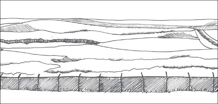 Black & white sketch of a tall fence and fields beyond